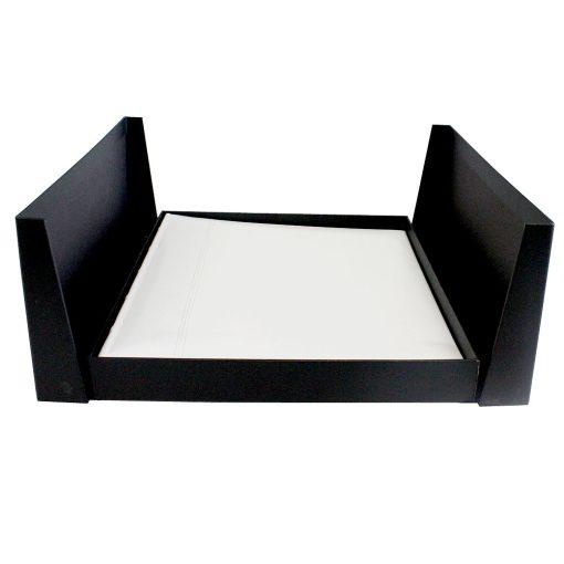 Drymount Album Presentation Box Open Lying Flat With White Leather Album Inside