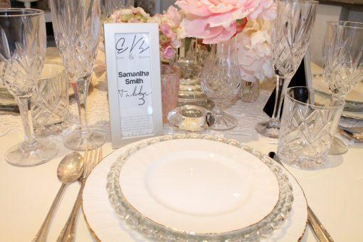 "Silver Metal Photo Strip Frame 2x6"" Displayed On Wedding Table"