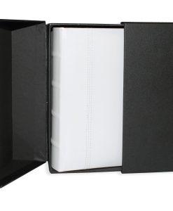 200 Album Presentation Box Standing Open With White Leather Album Inside