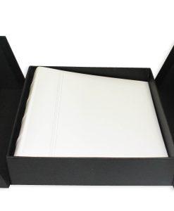 200 Album Presentation Box Open Lying Flat With White Leather Album Inside