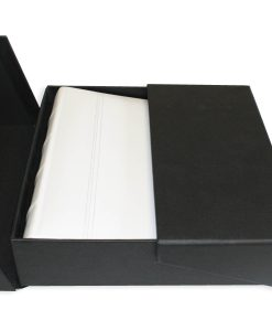 200 Album Presentation Box Lying Flat With White Leather Album Inside
