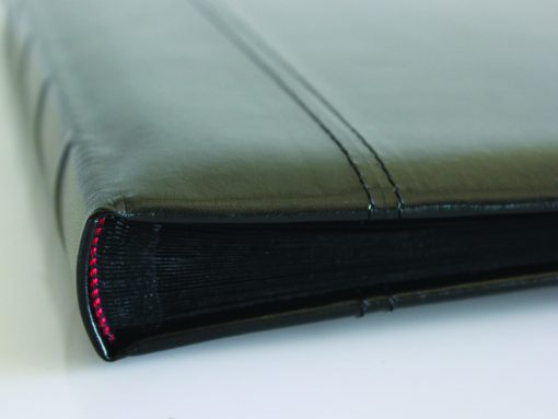 Spine View Of Black Leather Dry Mount Album 50 Page