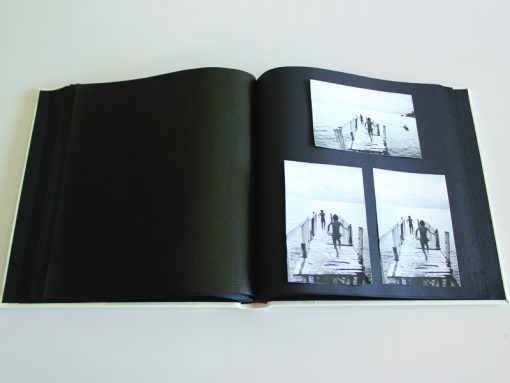 Inside Pages Of Black Leather Dry Mount Album 50 Page