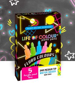 Life of Colour Fluro Pain Pens, set of 5