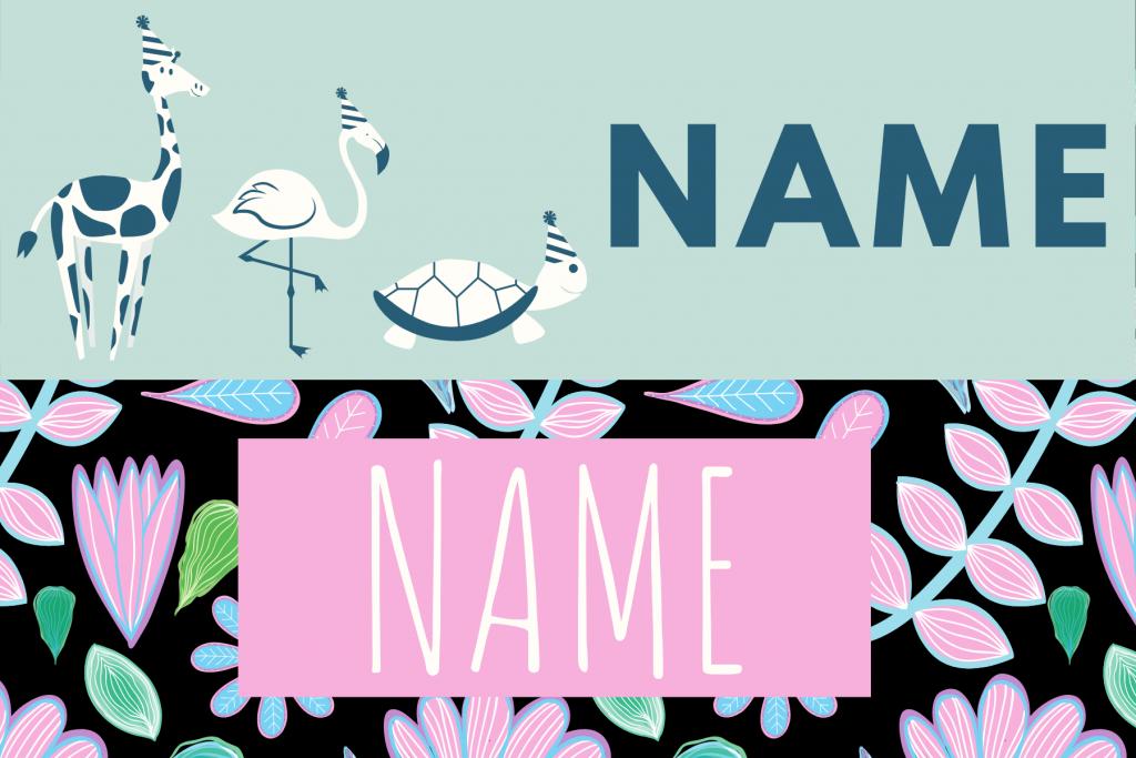 Photo strip template name plaque