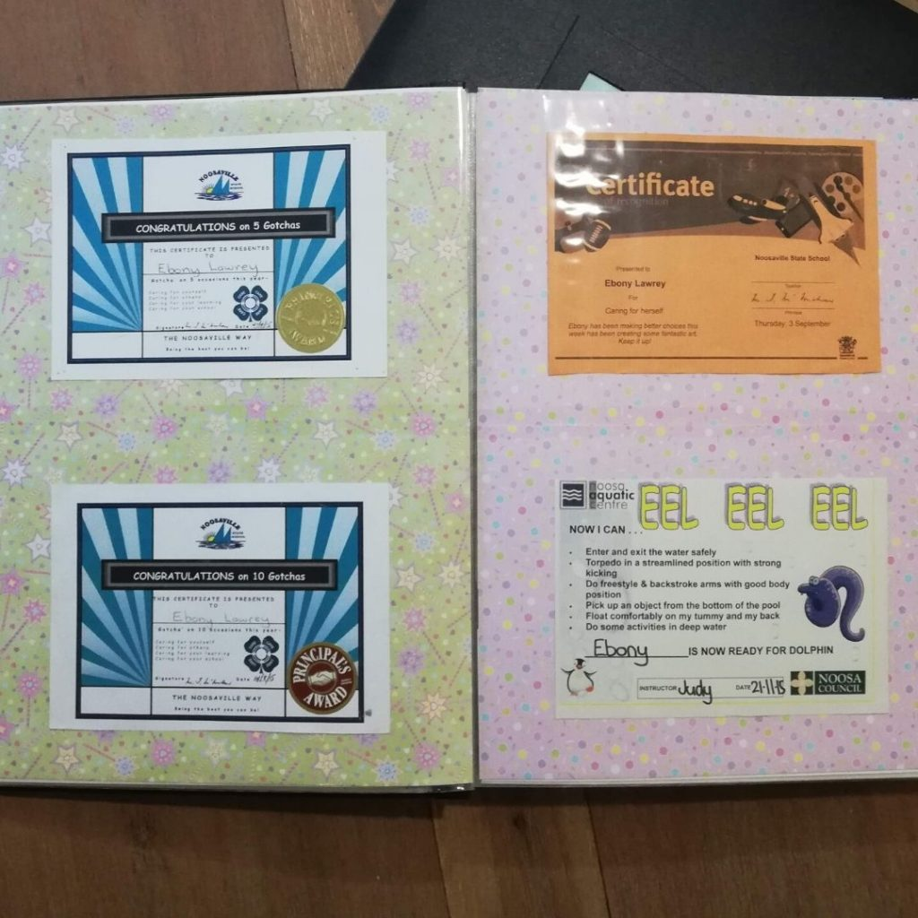 certificates with colourful scrapbook paper as background
