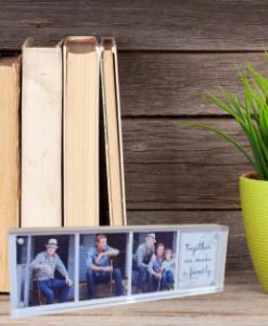 photo strip frame on shelf